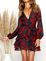 cheap -Women's Going out Chiffon Dress - Floral Print / Wrap Deep V / Mini / Holiday