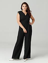זול -קיץ ללא שרוולים XL XXL XXXL אחיד, סרבלים רגל רחבה שחור צווארון V בסיסי בגדי ריקוד נשים