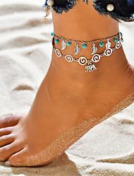abordables -Turquoise Effets superposés Yoga Bracelet de cheville - Eléphant, Forme de Feuille Pendant, Gland, Bohème Argent Pour Vacances Sortie Femme
