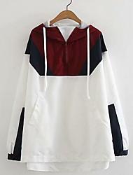Недорогие -женская куртка - цветной блок с капюшоном