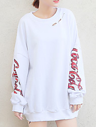 cheap -women's going out long sleeve long sweatshirt - letter round neck