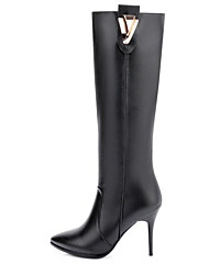 cheap -Women's Shoes Nappa Leather Fall & Winter Comfort / Fashion Boots Boots Stiletto Heel Knee High Boots Black / Pink
