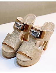 baratos -Mulheres Jeans Primavera Conforto Sandálias Salto Agulha Dourado / Preto / Prata