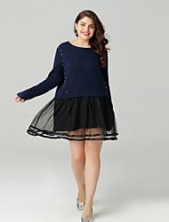 cheap -Sweet Curve Women's Basic Slim A Line Dress Crew Neck / Spring