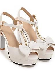 povoljno -Žene Cipele PU Ljeto Udobne cipele Sandale Stiletto potpetica Obala / Crn / Pink