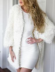 Недорогие -Жен. Пальто V-образный вырез Классический - Однотонный, Шерсть / Хлопок