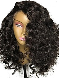 cheap -Virgin Human Hair Lace Front Wig Brazilian Hair Curly Wig Layered Haircut 150% Natural Hairline / For Black Women Black Women's Long Human Hair Lace Wig