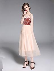 baratos -Mulheres Básico Bainha Vestido - Frente Única, Estampa Colorida Médio