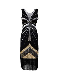 cheap -Women's Elegant Petal Sleeves Sheath Dress - Geometric Black & Red, Beaded