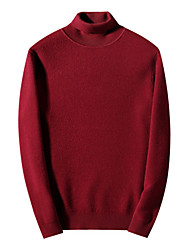 cheap -men's long sleeve wool pullover - solid colored turtleneck