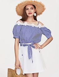 baratos -Mulheres Para Noite Delgado Camisa Social Listrado Saia Com Alças / Ombro a Ombro