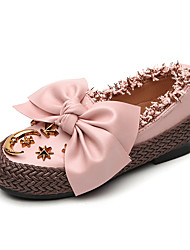 baratos -Para Meninas Sapatos Couro Ecológico Primavera & Outono Sapatos para Daminhas de Honra Rasos Caminhada Rendado / Cadarço / Botão para Infantil Preto / Bege / Rosa claro
