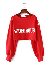 cheap -women's going out long sleeve slim sweatshirt - letter hooded