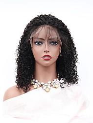 abordables -Cabello Remy Encaje Frontal Wig Cabello Brasileño Afro Kinky Peluca Corte asimétrico 150% Mujer / Fácil vestidor / sexy lady Negro Mujer 8-14 Pelucas de Cabello Natural