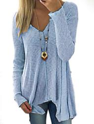 Недорогие -Жен. Классический Длинный рукав Тонкие Длинный Пуловер - Однотонный Глубокий V-образный вырез / Осень