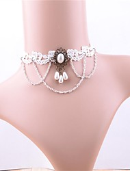 cheap -Women's Classic / Hollow Out Choker Necklace - Imitation Pearl, Lace Flower Vintage, Sweet White 28 cm Necklace 1pc For Date, Street