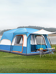 Недорогие -TANXIANZHE® 10 человек Туристическая палатка-хижина Семейный кемпинг-палатка На открытом воздухе С защитой от ветра Устойчивость к УФ Дожденепроницаемый Двухслойные зонты Карниза Палатка Трехкомнатная