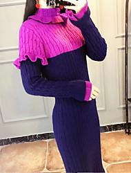 baratos -Mulheres Delgado Tricô Vestido Gola Alta Cintura Alta Médio