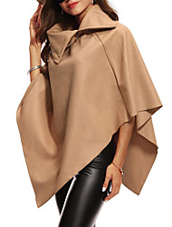 cheap -Women's Street chic / Sophisticated Cloak / Capes - Solid Colored, Patchwork
