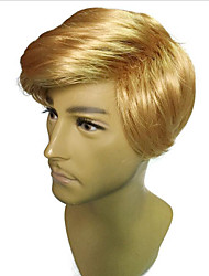 Недорогие -Парики из искусственных волос Маскарадные парики Прямой Стиль Стрижка боб Машинное плетение Парик Блондинка Светло-золотой Желтый Искусственные волосы 16 дюймовый Муж.