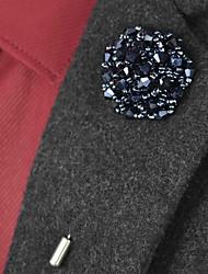 Недорогие -Жен. Танзанит Бусины Броши Цветы Простой Брошь Бижутерия Золотой / Синий Серебряный-Синий чёрный / Синий Назначение Свадьба