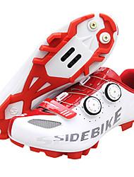 Недорогие -SIDEBIKE Обувь для горного велосипеда Углеволокно Водонепроницаемость, Противозаносный, Амортизация Велоспорт Красный / Белый Муж.