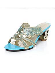 baratos -Mulheres Sapatos Couro Ecológico Primavera Verão Conforto Sandálias Salto Robusto Verde / Azul / Amêndoa
