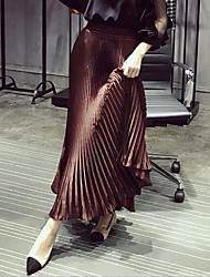 baratos -Mulheres Temática Asiática Balanço Saias - Sólido Preto e Vermelho