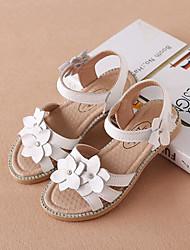 Недорогие -Девочки Обувь Кожа Лето Удобная обувь Сандалии На липучках для Дети (1-4 лет) Белый / Розовый