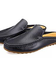baratos -Homens Sapatos de Condução Couro Ecológico Verão Tamancos e Mules Branco / Preto / Azul Escuro