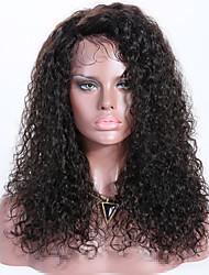 Недорогие -Remy Лента спереди Парик Бразильские волосы Кудрявый Парик Стрижка каскад 150% Лучшее качество / новый Черный Жен. Длинные Парики из натуральных волос на кружевной основе