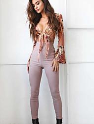 billige -V-hals Dame - Ensfarvet / Geometrisk Bomuld Bluse