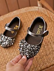 abordables -Fille Chaussures Polyuréthane Printemps été Confort / Chaussures de Demoiselle d'Honneur Fille Ballerines Marche Paillette / Scotch Magique pour Adolescent Blanc / Noir / Argent