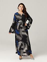 זול -מקסי קפלים / דפוס שמלה סווינג מידות גדולות בוהו בגדי ריקוד נשים