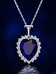 cheap -Women's Crystal / Cubic Zirconia Vintage Style / Stylish Pendant Necklace - Heart Classic, Vintage, Fashion Blue 41 cm Necklace 1pc For Engagement, Gift