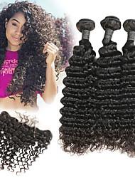 baratos -3 pacotes com fechamento Cabelo Brasileiro Deep Curly Cabelo Humano Extensões de Cabelo Natural / Trama do cabelo com Encerramento 8-22 polegada Tramas de cabelo humano Melhor qualidade / Nova