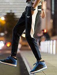 baratos -Homens Bolsos / Com Cordão / Pé de Feixe Calças Jogger / Calças de Corrida - Preto, Azul Esportes Estampa Colorida Calças Fitness, Ginásio, Exercite-se Tamanhos Grandes Roupas Esportivas Respirável