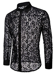 cheap -Men's Street chic / Exaggerated Shirt - Solid Colored Lace
