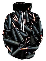 abordables -Homme Grandes Tailles Sports Capuche Manches Longues Punk & Gothique / Exagéré Sweat à capuche - Imprimé, Bloc de Couleur / 3D