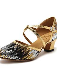 Недорогие -Жен. Танцевальная обувь Синтетика Обувь для модерна Цветы из сатина / Планка Кроссовки Толстая каблук Золотой / Синий / Тренировочные / EU42
