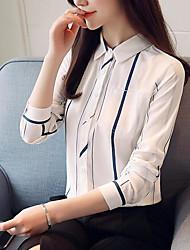 preiswerte -Damen Solide / Gestreift - Geschäftlich / Grundlegend Bluse Gefaltet / Druck Blau & Weiß