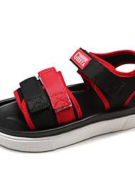 billige -Dame Sko Kanvas / PU Forår sommer Komfort Sandaler Flade hæle Spænde Hvid / Gul / Rød