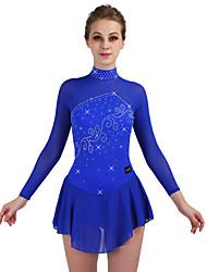 abordables -Robe de Patinage Artistique Femme Patinage Robes Bleu royal Elastique Entraînement / Concurrence Tenue de Patinage Séchage rapide, Design Anatomique Classique Manches Longues Patinage sur glace