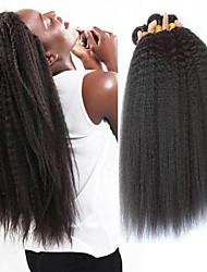 Недорогие -4 Связки Перуанские волосы Естественные прямые 8A Натуральные волосы Головные уборы Удлинитель Пучок волос 8-28 дюймовый Черный Естественный цвет Ткет человеческих волос Машинное плетение