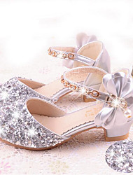 cheap -Girls' Shoes Faux Leather Spring &  Fall Flower Girl Shoes Heels Bowknot / Sequin for Kids / Teenager Silver