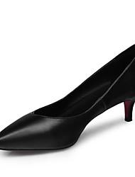 baratos -Mulheres Sapatos Pele Napa Primavera Plataforma Básica Saltos Salto Baixo Preto