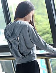 Недорогие -Жен. Аппликация Куртка для бега - Пурпурный, Серый Виды спорта Сплошной цвет Верхняя часть Бег, Фитнес, Разрабатывать Длинный рукав Спортивная одежда Быстровысыхающий, Дышащий, Мягкий Слабоэластичная