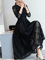 baratos -Mulheres Para Noite Evasê Vestido - Renda, Sólido Decote V Longo Preto