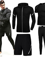 cheap -Men's Pocket 4pcs Tracksuit - Black, Grey Sports Solid Color Spandex Tee / T-shirt / Hoodie / Leggings Running, Fitness, Gym Long Sleeve Activewear Windproof, Lightweight, Quick Dry Stretchy Slim