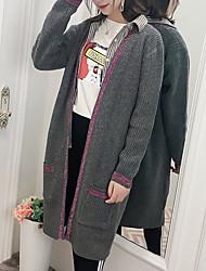 billige -Kvinders langermet løs lang cardigan - farveblok v-hals